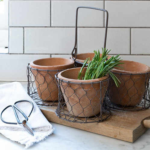 Wire Basket with 4 x Pots