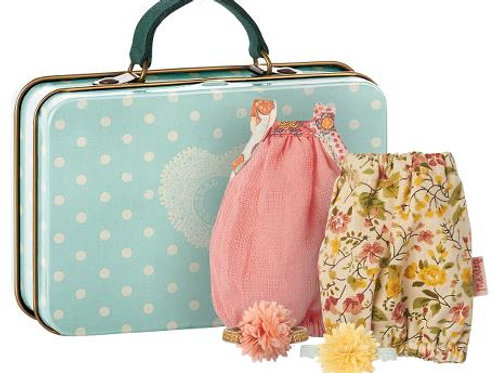 Maileg Suitcase with 2 Dresses - Micro
