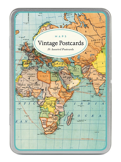 Cavallini Vintage Postcard Tin in World Map Design