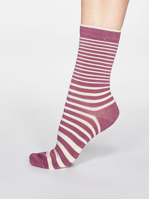 Thought Ladies Bamboo  Striped Socks in Mauve & Cream