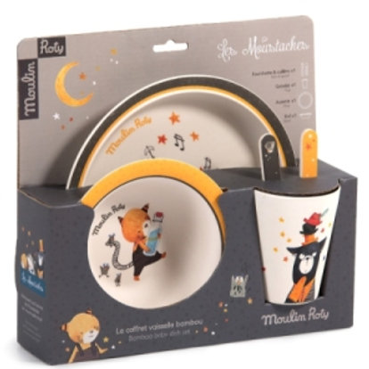 Moulin Roty 'Les Moustaches' Baby Dish Set