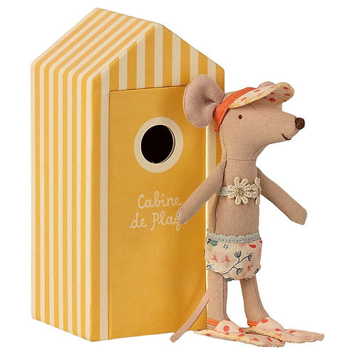 Maileg Beach Mouse - Big Sister  in Cabine de Plage