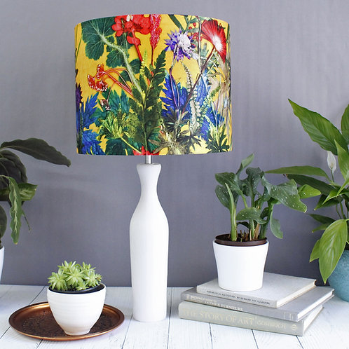 Lampshade in Bright Yellow Floral Design - 20cm