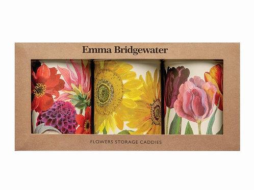 Emma Bridgewater Set of 3 Tin Caddies in Flowers Design