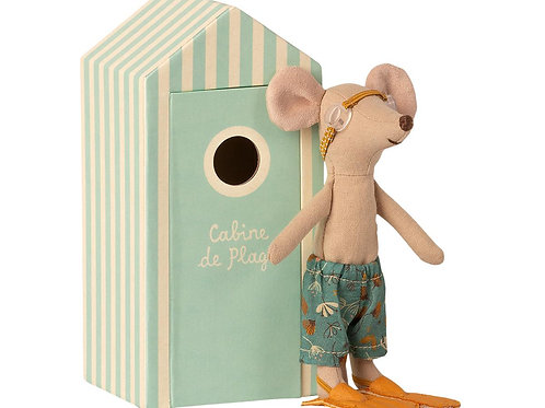Maileg Beach Mouse - Big Brother in Cabine de Plage