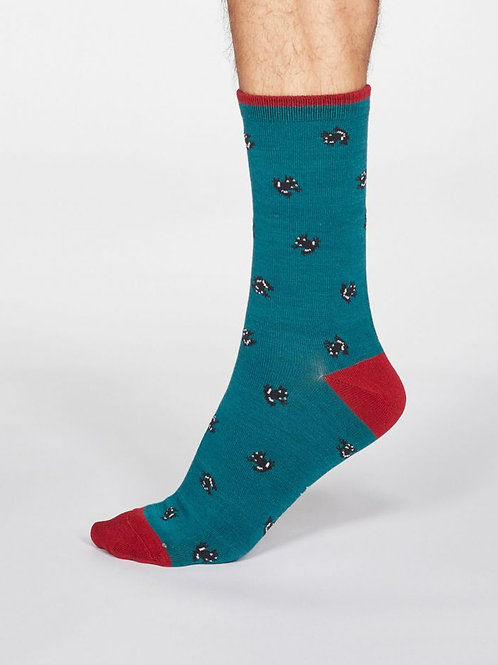 Thought Mens Bamboo Frog Socks in Teal Green