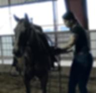 Melanie Georg sattelt ein Cuttingpferd