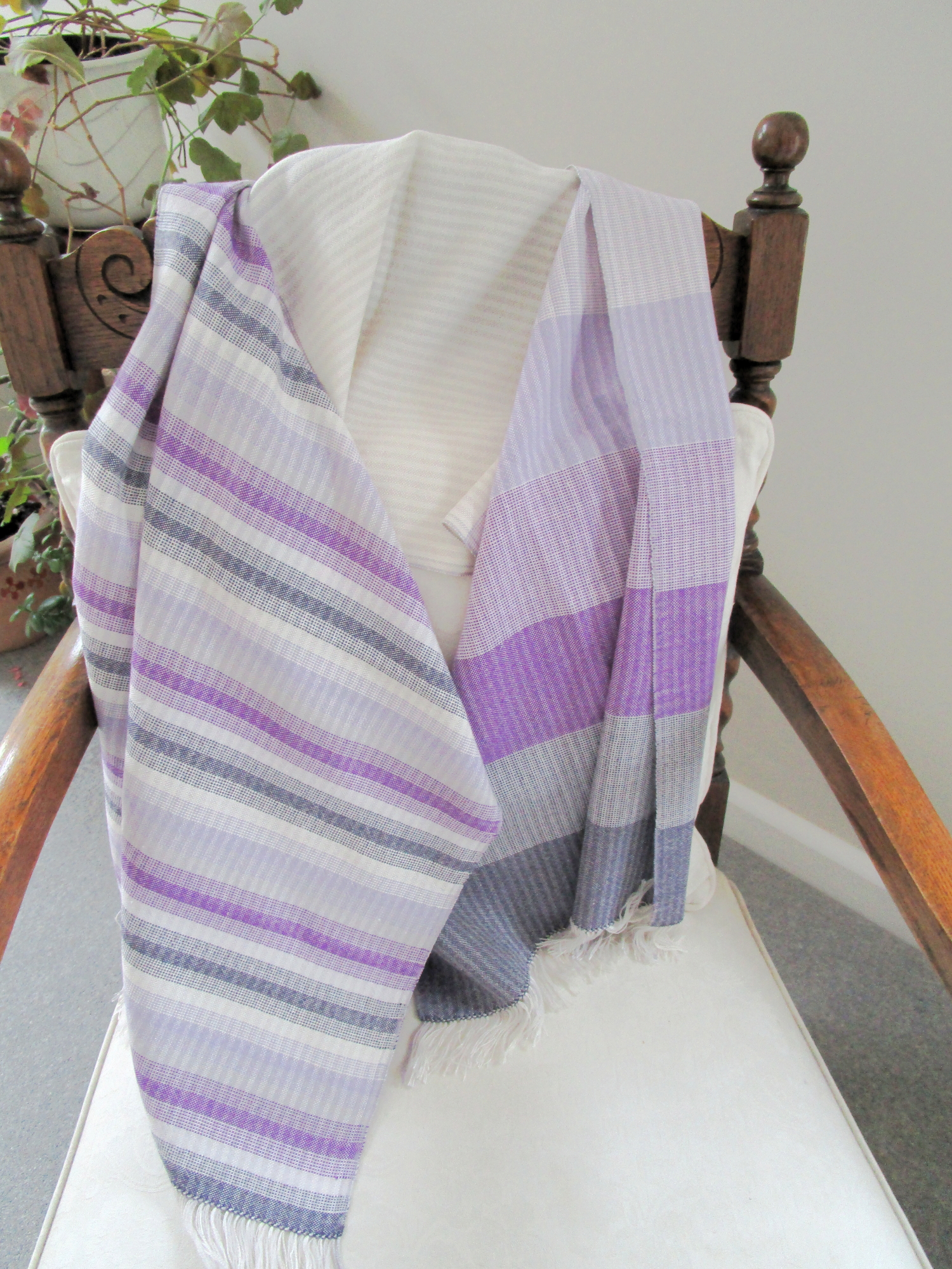 Purple & White Shawl