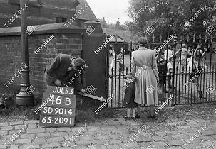 Entrance to playground of All Saints School, corner of Foxholes Road and Buckley Road, 1953
