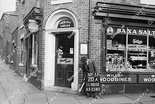 Fred Kay, grocer shop at corner of Wellfield Street, Rochdale, 1953