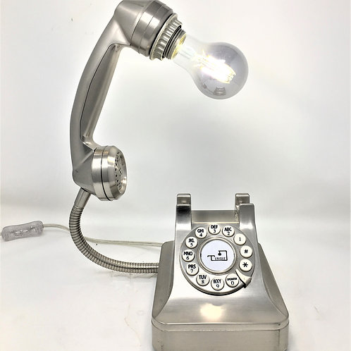 Silver Retro Phone Lamp