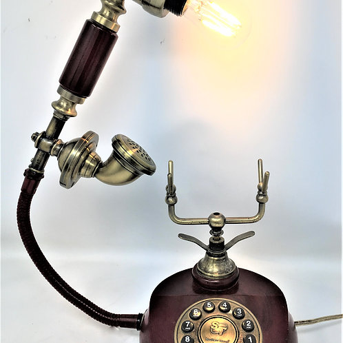 Red Wooden Phone Lamp