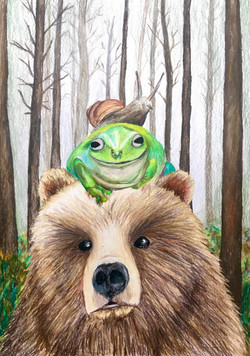 Snail on Frog on Bear