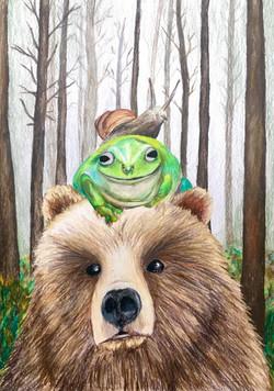 Snail on Frog on Bear
