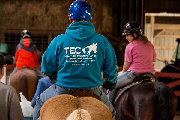 Participant wearing TEC sweatshirt