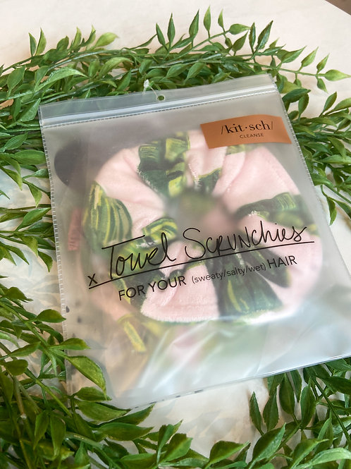 /kit•sch/ Towel Scrunchie Pink with Leaves