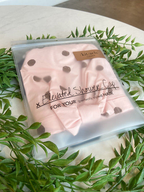 /kit•sch/ Elevated Shower Cap Pink with Brown Polkdots