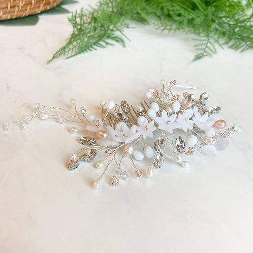 Large Silver Bridal Hair Piece