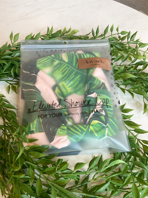 /kit•sch/ Elevated Shower Cap Pink with Leaves