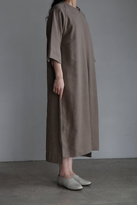 COSMIC WONDER / Silk&Linen smock dress ( Brown )