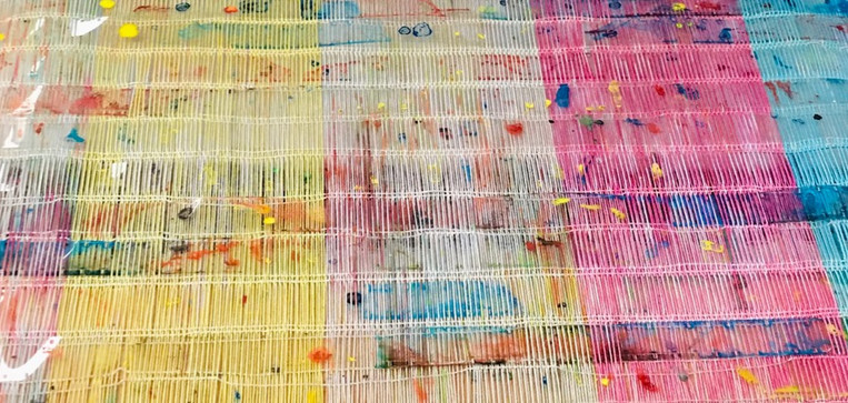 dyed film been woven into fabric