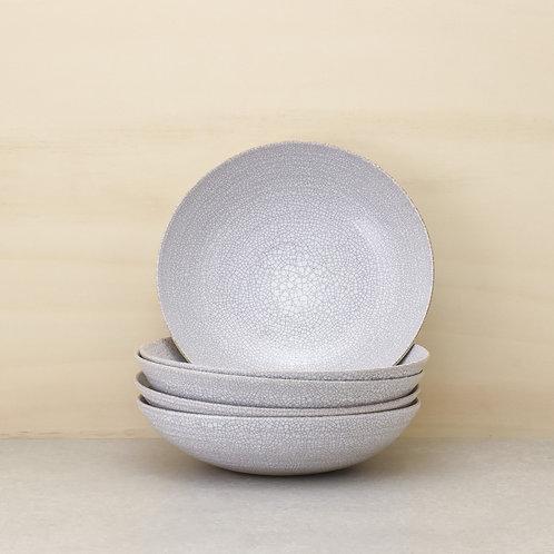Talíř polévkový bílý kraklovaný