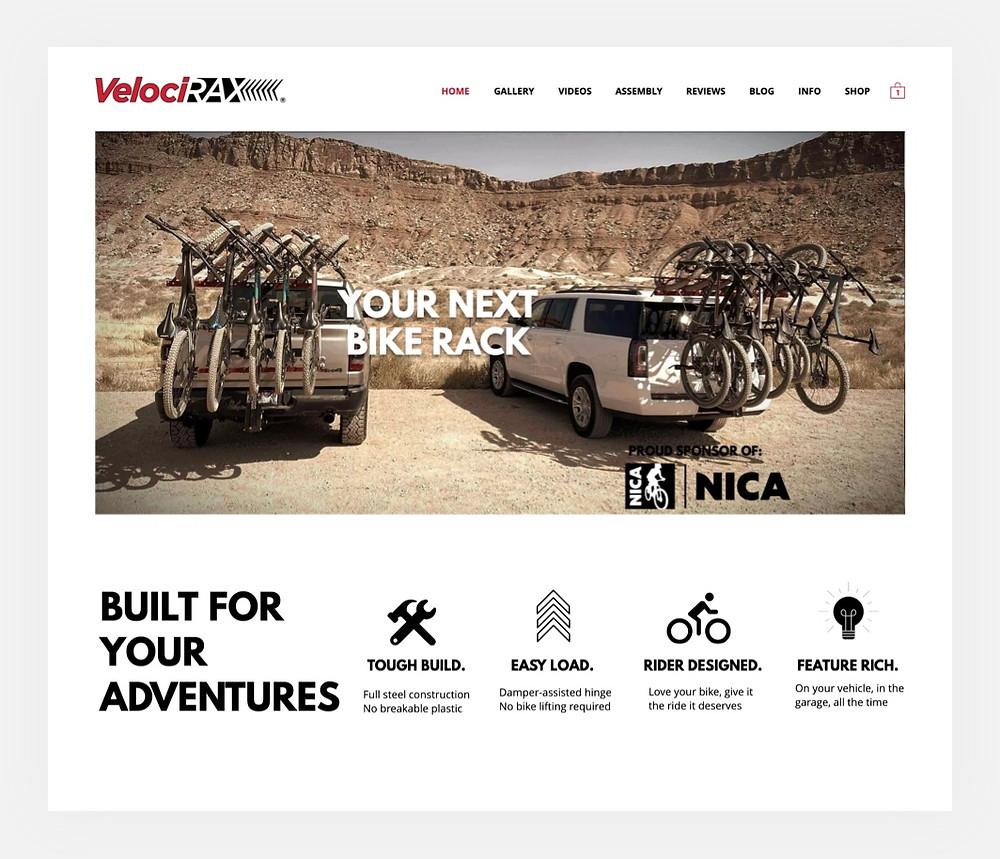 VelociRAX bike racks website homepage