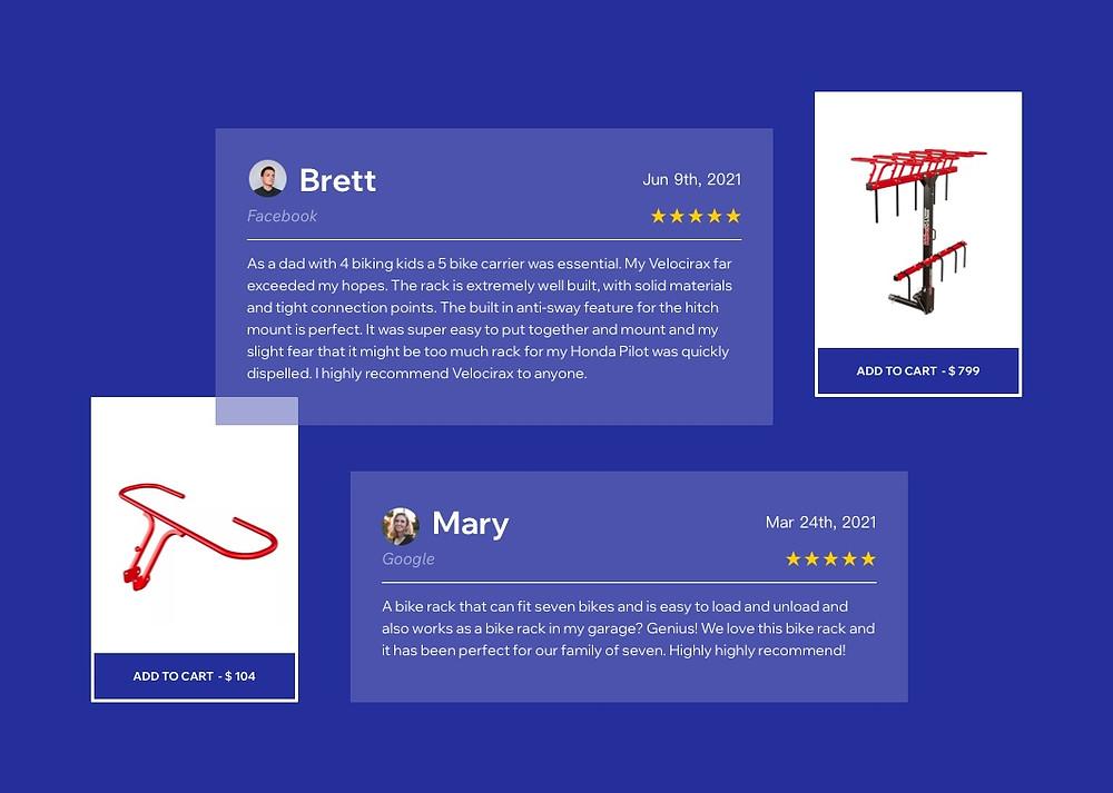 VelociRAX bike racks customer reviews from their website