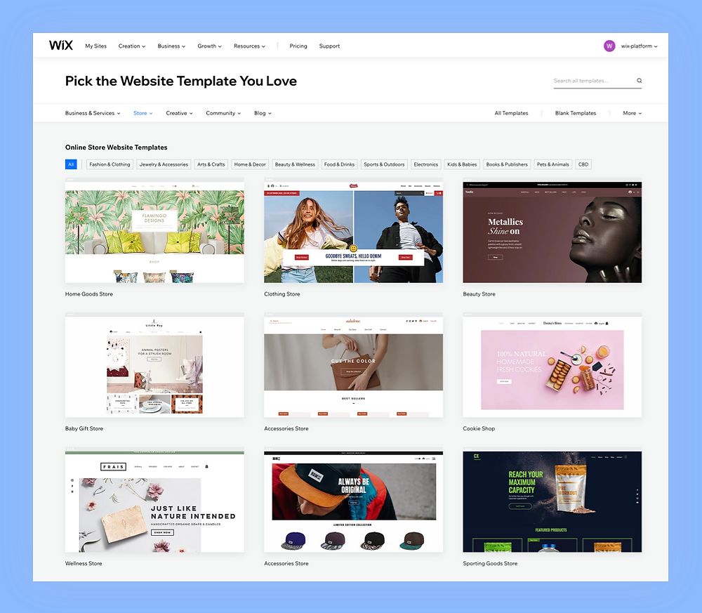 Wix eCommerce website template options