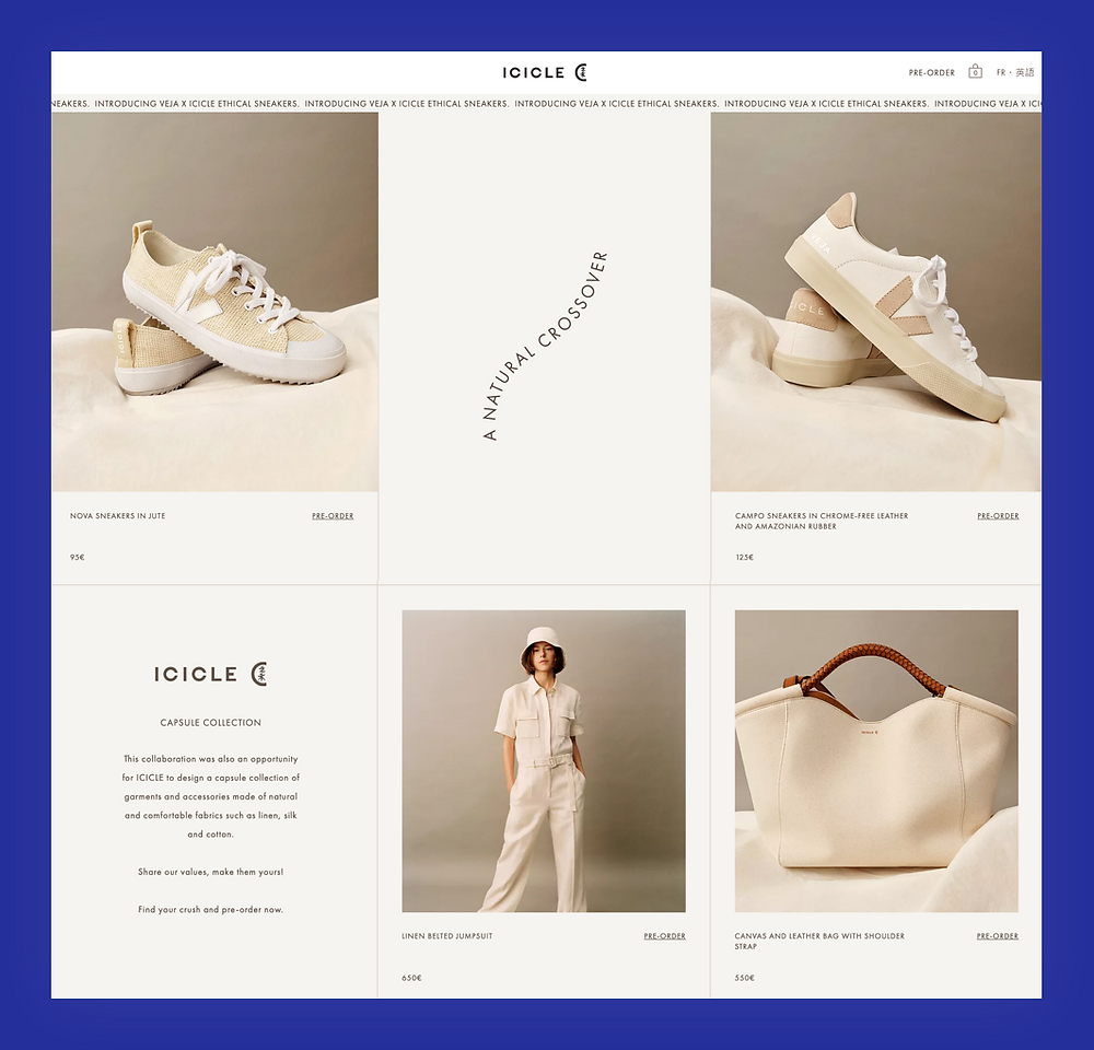 ICICLE a clothing website storefront with images of sneakers and handbags