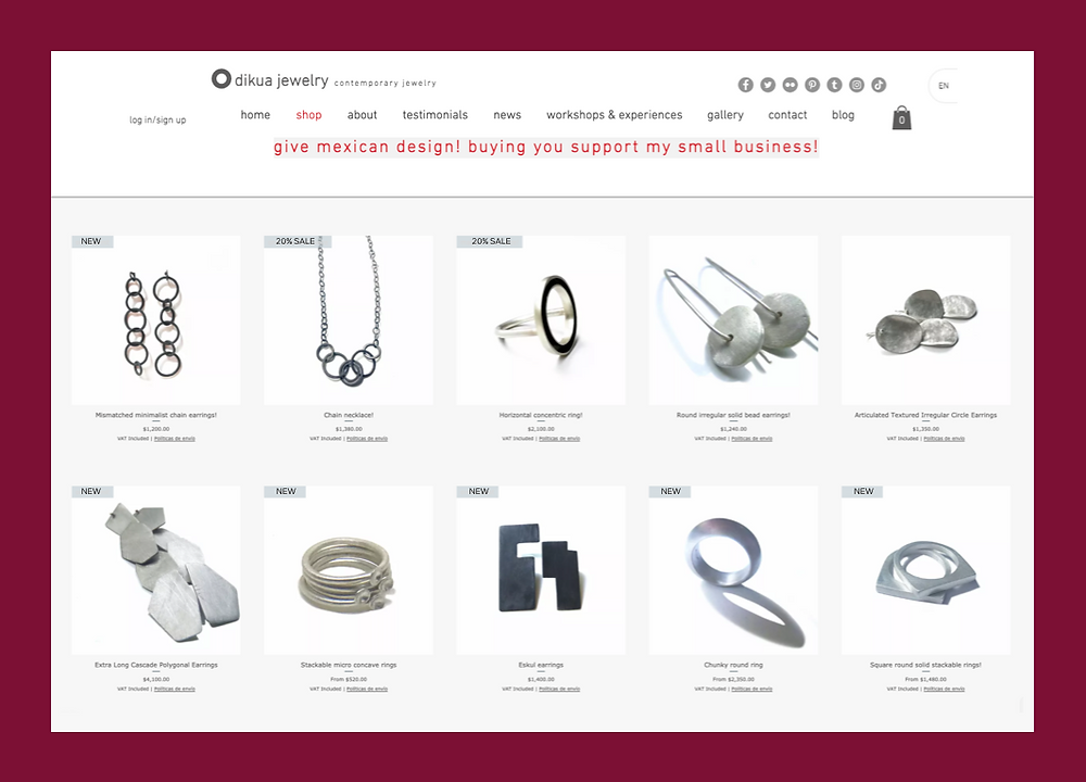 Dikua Jewelry store with a selection of silver products rings and necklaces