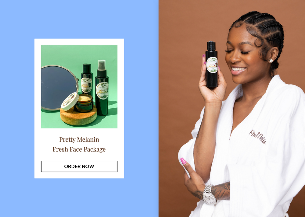 Black woman in a bathrobe with a Pretty Melanin product in her hand