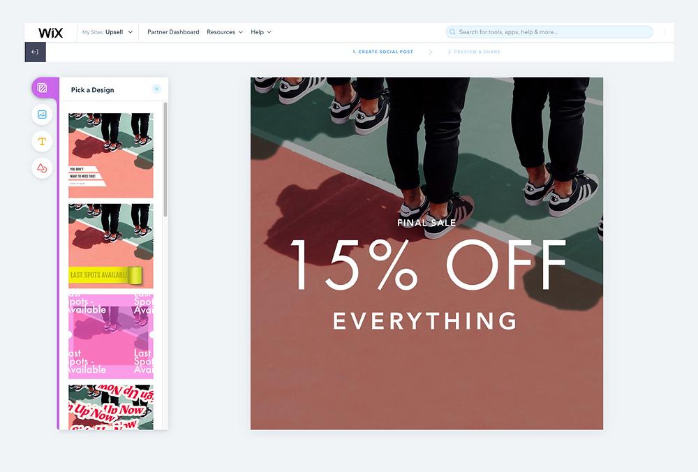 Wix eCommerce social media design tools