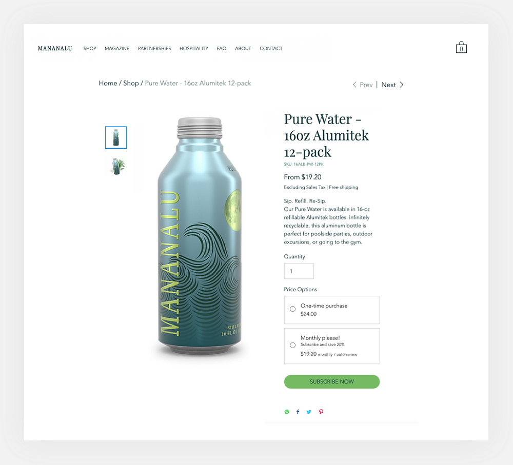 Mananalu Pure Water monthly subscription service