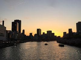 天満橋から見る大川の夕景