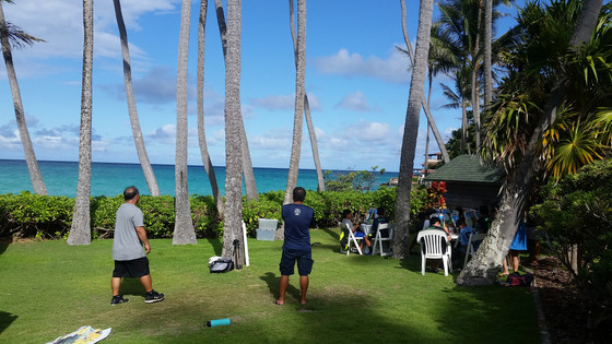 Team painting in Lanikai