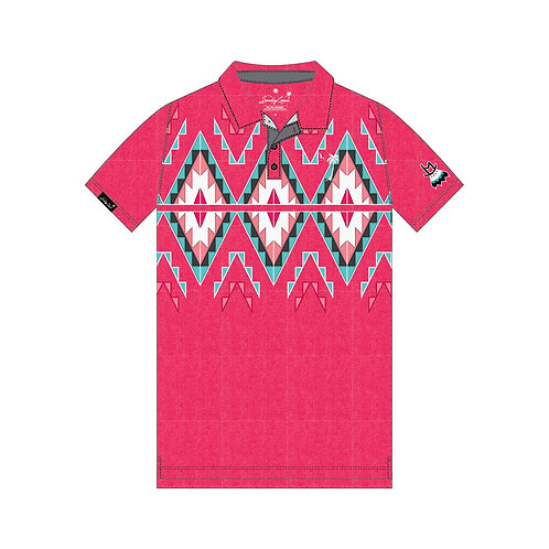 Full Geometric Design Polo (Magenta)