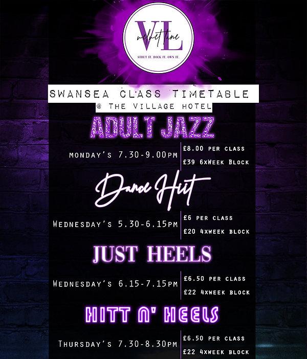 Velvet Lane Adult Dance Class Timetable