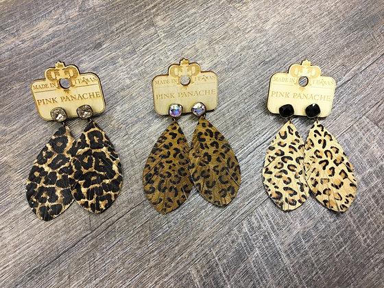 Animal Print Feather Earrings
