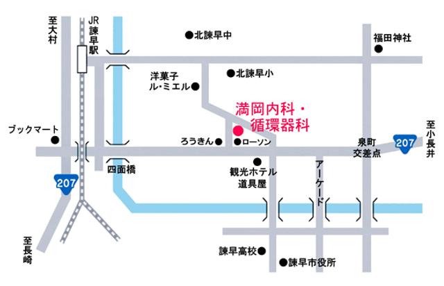 満岡内科の簡易地図