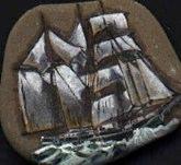 Segelschiff auf Stein