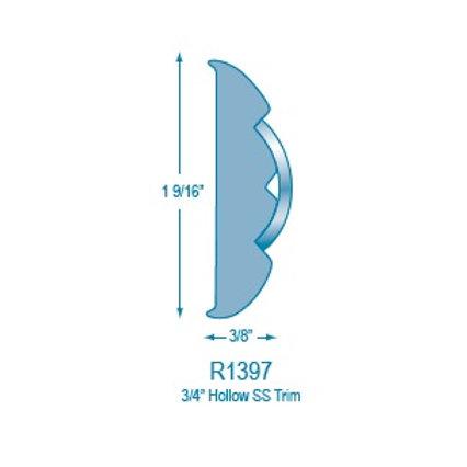 """R1397 Rigid Rub Rail (takes 3/4"""" Hollow Stainless Steel)"""