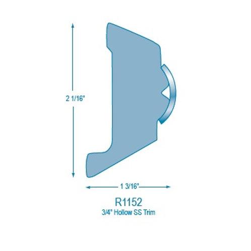 """R1152 Rigid Rub Rail (takes 3/4"""" Hollow Stainless Steel)"""
