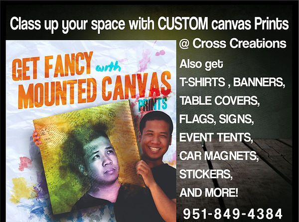 Custom canvas prints, custom banners, custom table covers, custom flags, custom signs, custom event tents, custom car magnets, custom stickers.