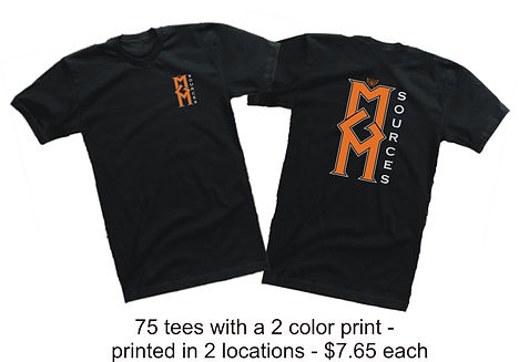 75 printed t shirts $7.65 @ Cross Creations