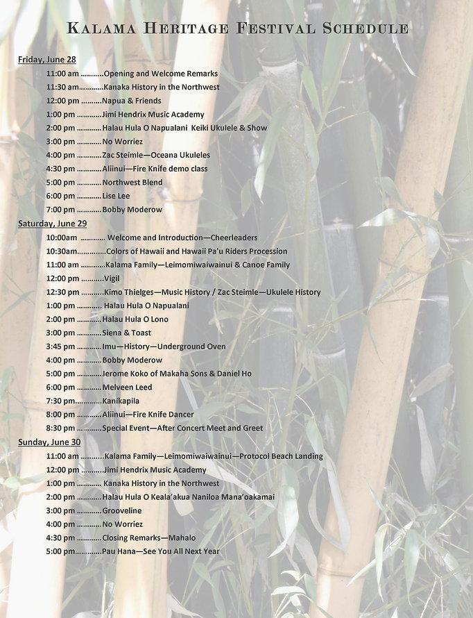 3 Kalama Heritage festival Program Sched