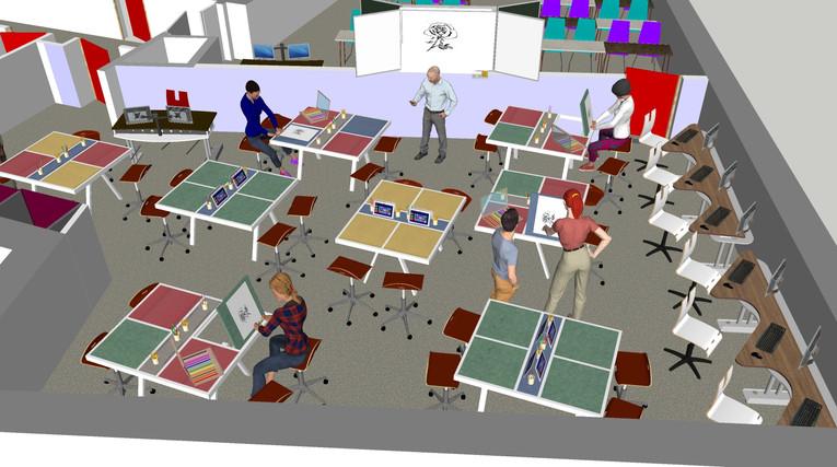 Salle classe 3D etage 1 projet salle des