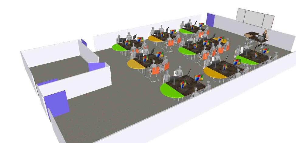 Salle pirbac 3D solution 2 bureaux marel