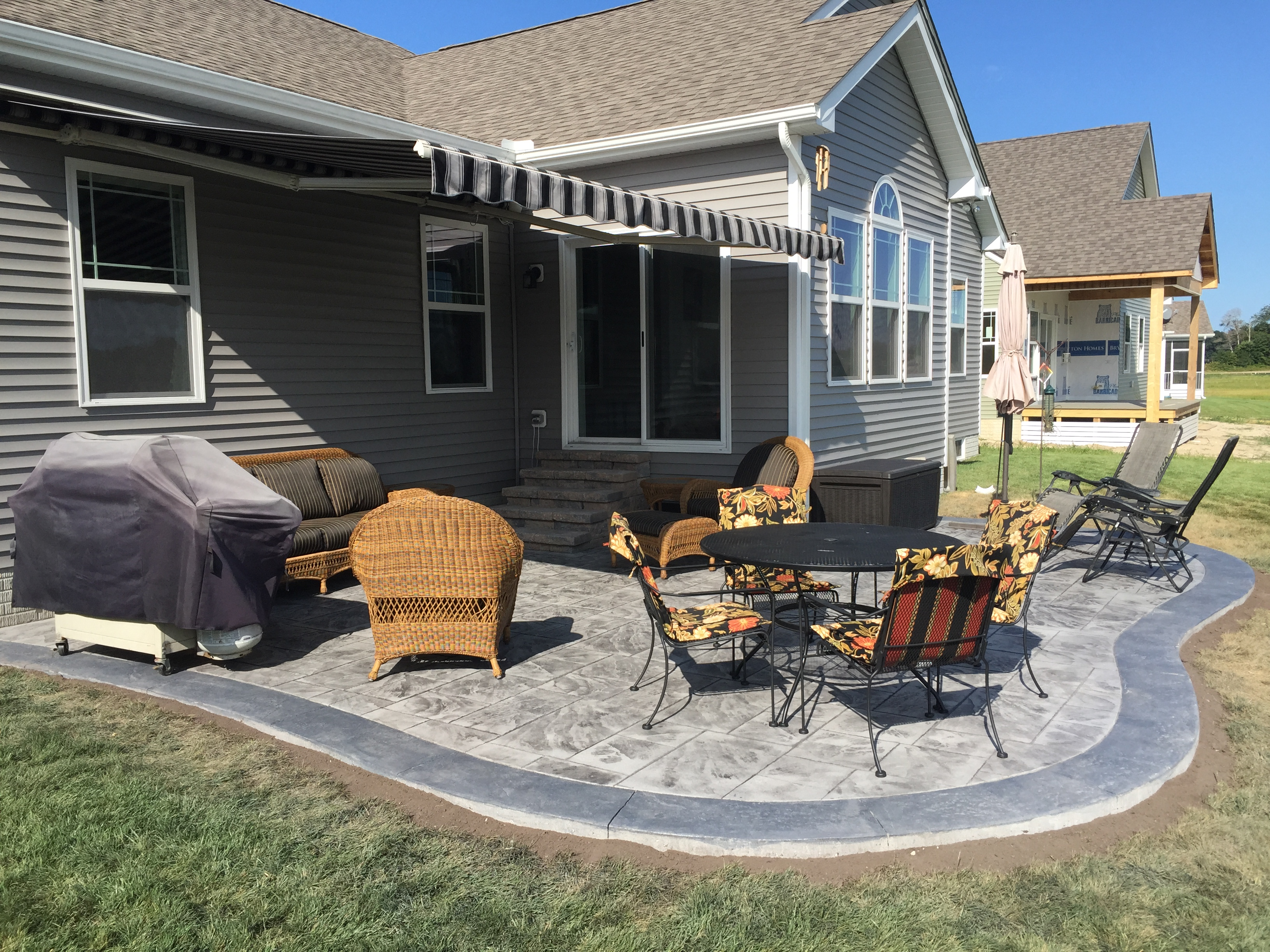 Stamped Concrete Patio w/ Contrasting Border