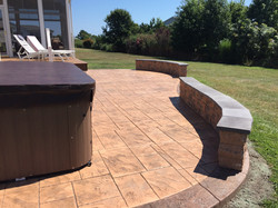 Stamped Concrete Patio w/ Seating Wall